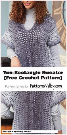 Easy Two-Rectangle Sweater [Free Crochet Pattern] #crochet #sweater #freecrochetpattern #yarn #summeroutfit #easycrochet #style #stitch