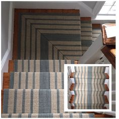 Dash and Albert wool flatweave with a meticulous mitered landing. Beige Carpet, Stair Installation, House Styles, Cabin Design, Blue Hallway, Dash And Albert Rugs, Home Decor, Striped Carpet Stairs, Textured Carpet