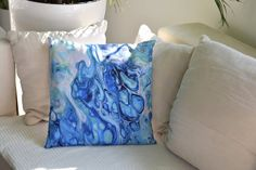 Blue Decorative Art Cushion Abstract Art Pillow Print of Art Decor, Home Decor, Maya, Abstract Art, Cushions, Throw Pillows, Blue, Painting, Etsy