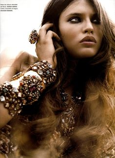 Bronze Gem Jewelry Modeled By Bianca Balti photographed By Greg Kadel By Eula her lips I am so envious of!!!