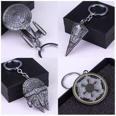 Hot Movie Star Wars Star Trek Spaceship Keychain Millennium Falcon Serenity Firefly Warships Key Ring Metal