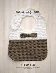 Ravelry: Bow Tie Bib pattern by Kittying Ying Crochet Bow Ties, Crochet Baby Bibs, Crochet For Boys, Love Crochet, Hand Crochet, Crochet Toys, Unique Crochet, Newborn Crochet, Baby Boy Bibs