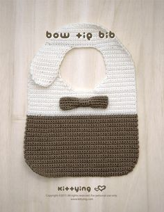 Bow Tie Bib Crochet PATTERN by kittying.com from mulu.us   Be a charming baby boy with crocheted Bow Tie Bib.