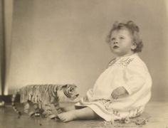 Princess Elizabeth with tiger, 6 May 1927 by Marcus Adams The Royal Collection © Her Majesty Queen Elizabeth II Not for reproduction. Young Queen Elizabeth, Lady Elizabeth, Princess Elizabeth, Princess Margaret, Margaret Rose, Queen Mother, Queen Mary, The Queen's Gallery, Prinz Philip