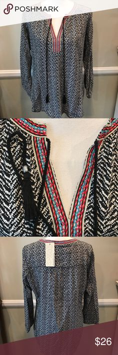 Daniel Rainn Black Long Sleeve Blouse Large Boho Brand new with tags. Super cute embroidery detail and hanging tassels Daniel Rainn Tops Blouses