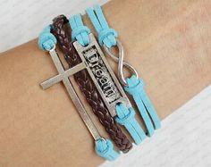 Cross Love Bracelet womens Bracelet  Motto dream by sky2light, $5.99