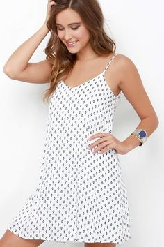 9b4ac91628c9  Fashion Summer Style   Nice and Easy Navy Blue and Ivory Print Shift Dress