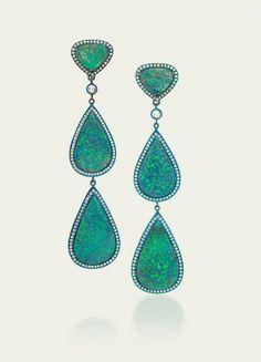 Opal and diamond earrings by Tamsen Z