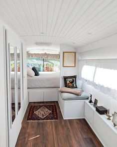 A Greyhound Bus Was Turned into a Minimal, Modern Tiny House on Wheels: gallery image 2 Bus Living, Tiny Living, Living Spaces, Apartment Therapy, Single Wide Remodel, Ikea, Bus House, Farm House, Mobile Home Decorating