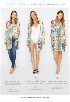 2af59943755 3 ways to wear our favorite summer tunic: shop SILVERETTE LONG CARDIGAN  (also available