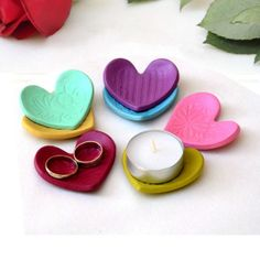 Heart Shaped Candle holder, Ring Dish, Party Favor, Wedding Favor, Shower Favor, Heart Dish, Ceramic Storage on Etsy, $6.00