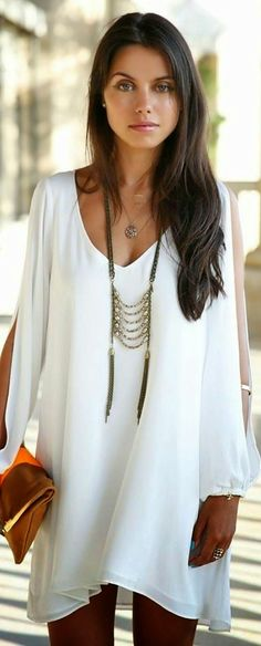 Pure White Deep Neck Boho Dress