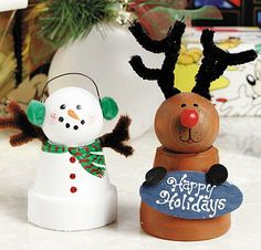 Clay Pot Snowman and Reindeer♥ from Michaels