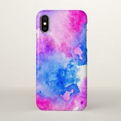 Purple, pink and blue watercolor iPhone X case. #iphoneaccessories, #iphonexcase,