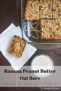 Banana Peanut Butter Oat Bars with Dates - Slender Kitchen