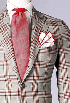 Plaid Blazer with red tie Sharp Dressed Man, Well Dressed Men, Mens Attire, Mens Suits, Look Formal, Look Man, Grown Man, Fuchsia, Suit And Tie