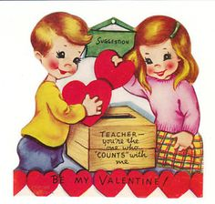 Vintage Valentine - little boy and girl cast votes at an old fashioned ballot box.