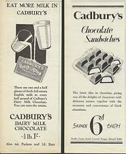 CADBURY'S  DAIRY  MILK  CHOCOLATE   (1928 & 29  Advertisements x 2)