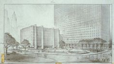 United Nations Scheme - Hugh Ferriss' architectural sketches, 1915-1961