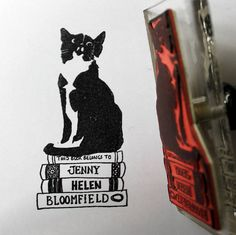 Personalised Cat 'Book Belongs To' Stamp    Looks just like my cat - I need one!!!  :)