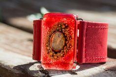 Bracelets cuir et de verre larges poignets 1.5 par CarliBruno