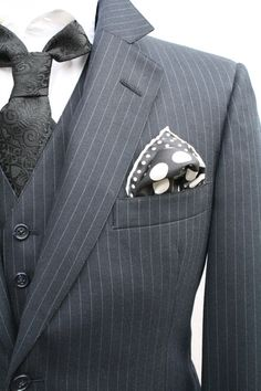 Vintage 3 Piece Black Pinstriped Suit by ViVifyVintage