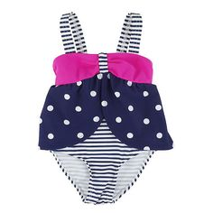 "Koala Baby Girls' 1 Piece Navy/White Polka Dot and Stripe Swimsuit - Babies R Us  - Babies""R""Us"