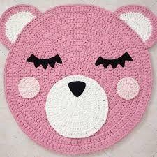 Bear Crochet Rug Bear Rug Handmade Crochet Rug Kids Rug by Ponponi Crochet Mat, Crochet Carpet, Crochet Pillow, Crochet For Kids, Crochet Doilies, Crochet Granny, Girls Rugs, Bear Rug, Doily Rug