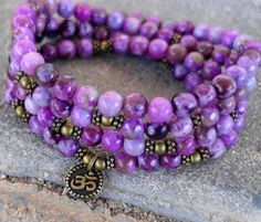 Love flow 108 Sugilite & Om Mala Bracelet or Necklace Reiki charged, Buddhist Rosary, Prayer beads, Gemstone mala, Free shipping