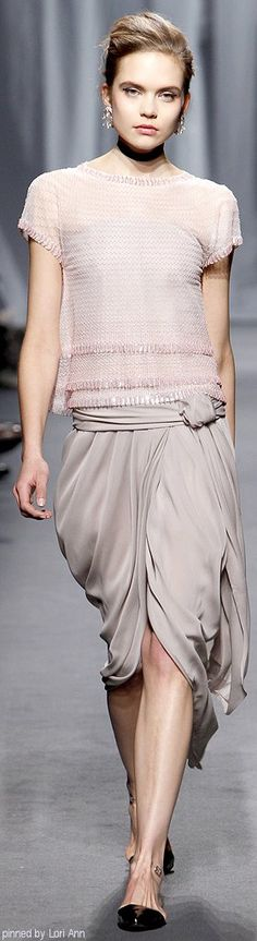 Chanel ~ Couture Spring Nude Silk Cape Sleeve Top w Pleated Skirt 2011