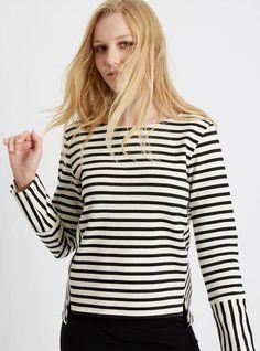 Marisa - striped sweatshirt - black/white