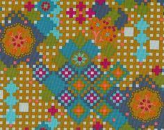 Patchworkstoff DOWRY, Karo-Blüten-Muster, gedecktes petrol-goldbraun