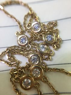 14kt yellow gold diamonds by the yard necklace in 18 inches. Available for $1350 #YadavDiamonds
