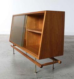 Greta Magnusson Grossman; Walnut, Brass and Glass Cabinet for Glenn of California, 1952.