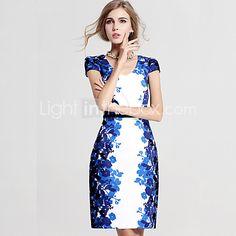 Women's Vintage / Simple Print Plus Size / Sheath Dress,V Neck Above Knee Silk / Rayon / Polyester 2016 - R$54.83