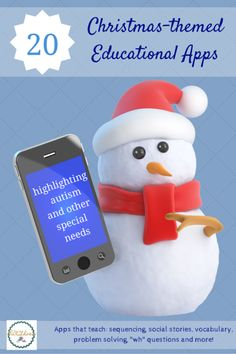 """Here are 20 great educational apps with a Christmas or holiday theme. Special focus on special needs and autism apps, like Christmas Social Stories, practicing """"wh"""" words, sequencing, problem solving and more."""