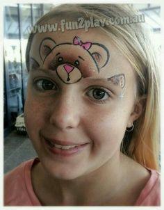 One stroke teddy bear by Kate Matthews (Lisa Marie design) www.facepaintingschool.com.au face painting ideas for kids
