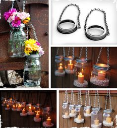 Set of 2 DIY Mason Jar Lantern or Flower Vase Hangers -- maybe could make my own :)