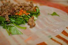 Ground beef rice paper rolls