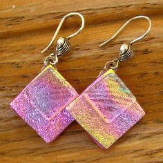 Hot Pink Fused Glass Earrings Dichroic Fused Glass  by GlassCat, $24.50