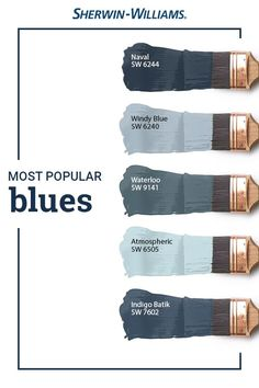 From light to dark and everything in between, Sherwin-Williams customers love blue paint colors. But have you ever wondered which shades of blue are the very best sellers? In Naval SW Windy Blue SW Waterloo SW Atmospheric SW 6505 an Exterior Paint Colors, Paint Colors For Home, Light Blue Paint Colors, Modern Paint Colors, Office Paint Colors, House Paint Exterior, Exterior House Colors, Paint Colors For Bathrooms, Furniture Paint Colors