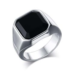 Fashion Mens Signet Rings Stainless Steel Band with Black Stone Inlay Ring for Men Vintage Biker Jewelry Bague Anel Masculino Black Onyx Ring, Black Rings, Black Sapphire, Blue Topaz, Mens Silver Jewelry, Men's Jewelry, Male Jewelry, Fashion Jewelry, Jewelry Watches