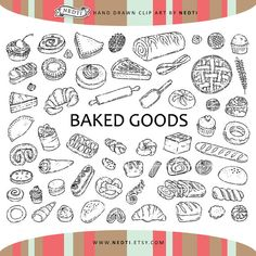 60 Pastry Doodle Clipart Elements, Baked Goods Clip art, Bakery Illustration, PNG, Hand Drawn by Nedti