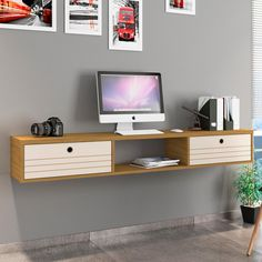 Liberty 63 Inchw Cinnamon Off White 3 Shelf Floating Office Desk White Office Furniture, White Desks, Table Sizes, Mdf Wood, Office Table, Modern Wall, Home Projects, A Table, Floating Shelves
