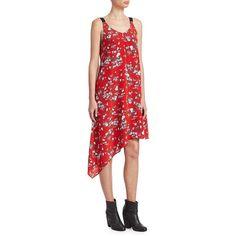 Rag   Bone Zoe Floral-Print Dress ( 450) ❤ liked on Polyvore featuring  dresses, asymmetrical hem dress, silk dress, floral asymmetrical dress, ... c08b19ba214