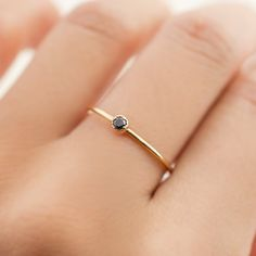 14k gold tiny black diamond ring dainty black by EnveroJewelry
