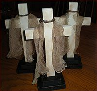 2 Tier Standing Cross-cross, crucifix, easter, spring,tea-stained, grapevine, religious, easter