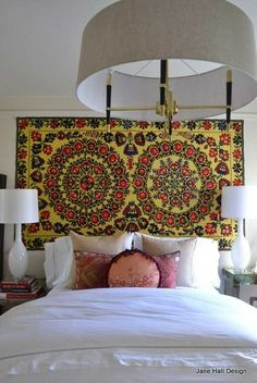 Eclectic Style Bedroom... suzani wall hanging