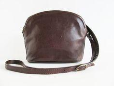 Vintage  Leather Crossbody Bag  Brown Leather by funkyvintage780