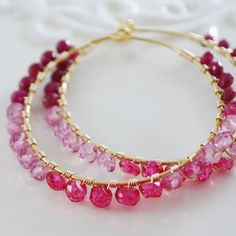 Pretty pink hoop earrings
